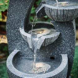 Solar Powered Garden 4 Tier Cascading Bowl Water Feature LED Outdoor Fountain UK