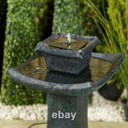 Solar Powered Garden Water Feature Outdoor Pagoda Cascade Fountain