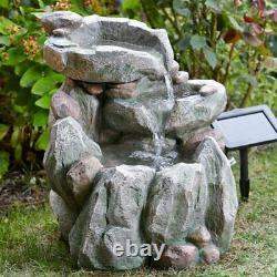 Solar Powered Rock Fall Cascade Fountain Outdoor Water Feature