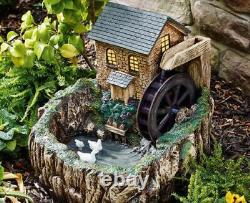 Solar Powered Water Mill with Night Light Fountain Outdoor Water Feature
