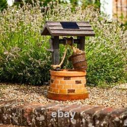 Solar Powered Water Wishing Well Fountain Outdoor Garden Water Feature