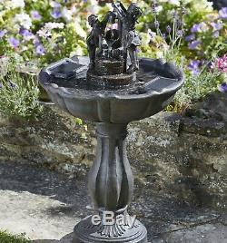 Solar Tipping Pail Garden Water Feature Fountain Bird Bath