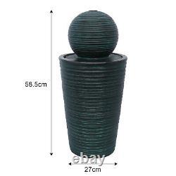 Solar Water Feature Fountain Outdoor Garden Black Standing Ball Sphere Patio