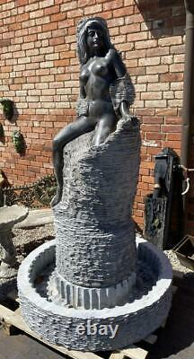Solid Carved Marble Lady Abstract Garden Water Feature Fountain & Basin H193cm