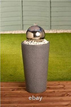 Stainless Steel Gazing Ball Water Feature Elegant Fountain Garden Patio Outdoor