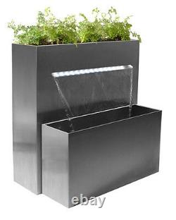 Stainless Steel Planter Water Feature Waterfall with Lights Outdoor Garden