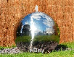 Stainless Steel Sphere Garden Fountain Water Feature with LED Lights & Reservoir