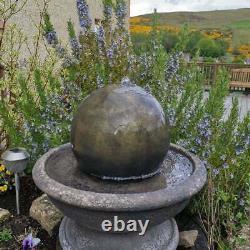 Stone Ball Sphere Garden Patio Water Fountain Feature Ornament Solar Pump