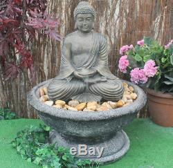 Stone Buddha Garden Patio Water Fountain Feature Ornament Solar Pump