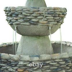 Stone Effect Garden Water Feature Fountain Self Contain Pond 3 Tier 92cm Decor