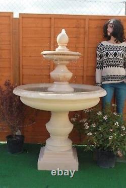 Stone Garden Large Bowled Regis Outdoor Water Fountain Feature Sandstone Solar