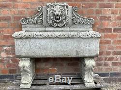 Stone Garden Large Lion Spout Trough Water Feature Fountain Ornament