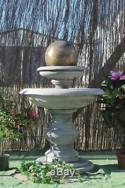 Stone Regis Ball Water Fountain Feature Garden Ornaments Solar Pump