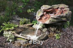 Stone Rock Effect Water Feature Fountain Cascade Waterfall Pool Pond Garden