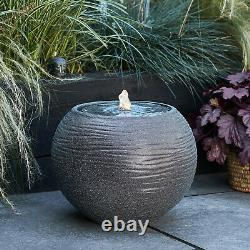 Stone Sphere Water Feature Globe Bowl Garden Fountain 36cmPlug In LED Lights4fun