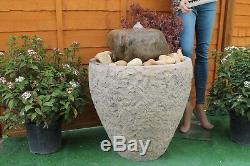 Stone Tub Water Feature Garden Fountain Self Contained Patio Solar Pump