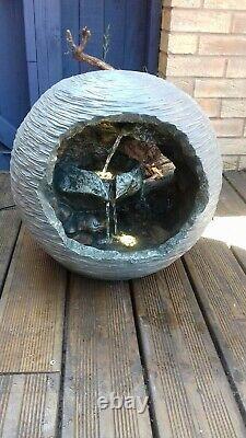 Stunning open ball LED light Rock Fountain Water Feature garden Ornament