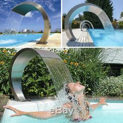 Swimming Pool Waterfall Fountain Pro Stainless Steel Water Feature Garden Decor