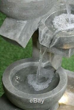 THE OXFORD Garden Water Feature Fountain Quality Stone Finish LED