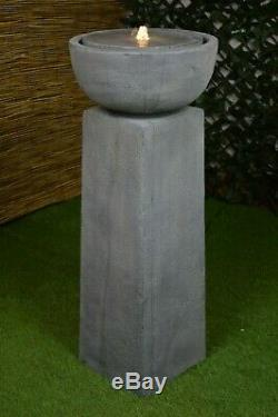 TRAFALGAR Tall Garden Water Feature Fountain Stone LED Light Self-Contained