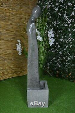 Tall Water Feature Fountain Garden Indoor Statue Stone Finish LED Self-Contained