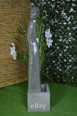 Tall Water Feature Fountain Indoor Garden Statue Fibre Stone LED Self-Contained