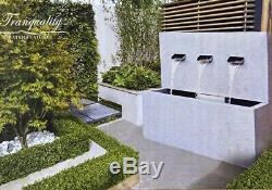 Triple Fall Zinc Wall Contemporary Garden Water Feature, Outdoor Fountain