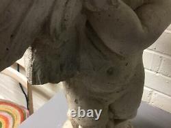 Vintage Cement Cherub Boy Holding Goose Garden Statue Water Fountain 25 Tall