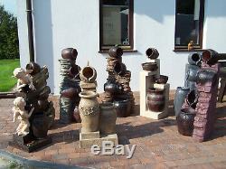 Water Feature Fountain Athena Pots, High 107cm, Garden, Outdoor LED