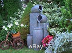Water Feature Fountain Persia Pots, High 112cm, Garden, Outdoor LED