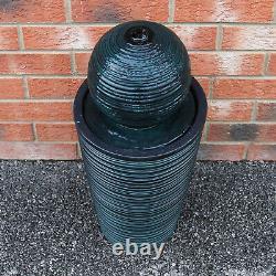 Water Feature Fountain Solar Powered Outdoor Garden Black Standing Ball Patio