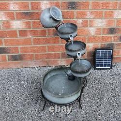 Water Feature Fountain Solar Powered Outdoor Garden Cascade Tiered Grey B1107