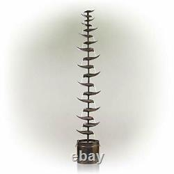 Water Feature Garden Fountain Tall Indoor Outdoor Patio Leaf Cascading Metal NEW