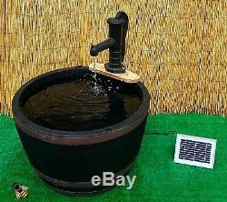 Water Feature Garden Pond Fountain Solar Pump Barrel Patio Gold Fish New