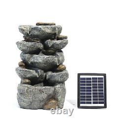 Water Feature Solar Powered Garden Rock Cascade Water Fountain LED Light Pump