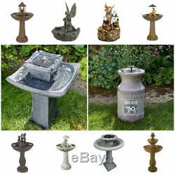 Water Fountain Solar Garden Water Feature Outdoor Patio Ornament Statue Decor