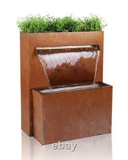 Waterfall Herb Planter Water Feature Fountain Cascade Urban Corten Steel Garden