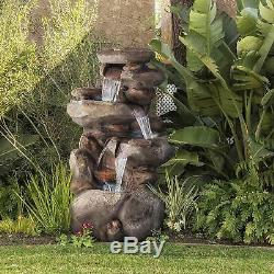 Weather Safe Large Outdoor Garden Stacked Stone Rock Style Water Fountain Decor