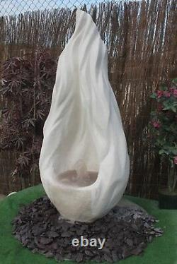 White Stone Garden Water Feature Fountain Flame Sculputre With Sump Resiviour