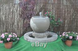 White Stone Garden Water Feature Fountain Globe Bowl Sump With Surround
