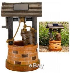 Wishing Well Cascade Water Fountain Feature Solar Power Outdoor Garden