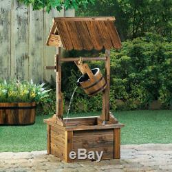 Wood Wishing Well Garden Fountain Metal-banded Bucket That Spouts Water