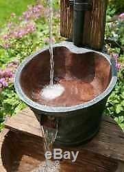 Wooden Barrel & Bucket Traditional Water Feature, Garden fountain, Lights, SOLAR