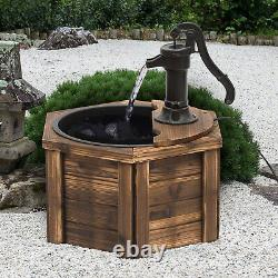 Wooden Electric Water Fountain Garden Ornament with Hand Pump Vintage Style