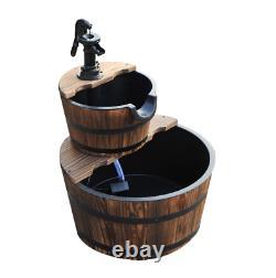 Wooden Water Pump Fountain, 2 Tier-Fir Wood/Steel, Waterfall Effect, Garden