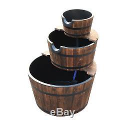 Wooden Water Pump Fountain 3 Tier Cascading Feature Barrel Garden Deck