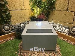 Zinc Cube Contemporary Garden Water Feature, Solar Powered Outdoor Fountain
