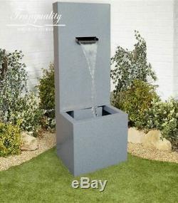 Zinc Fall Contemporary Garden Water Feature, Outdoor Fountain Great Value