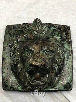 1 Bronzé Pierre Style Jardin Lion Mur Fontaine Masque Plaque Spout Eau Caractéristiques