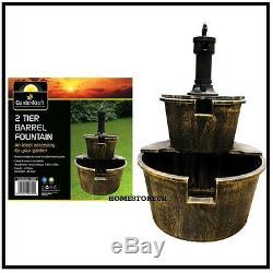 2 Niveau D'eau Barrel Fontaine Avec Pompe Ornement De Jardin Caractéristique Intérieur Extérieur Br